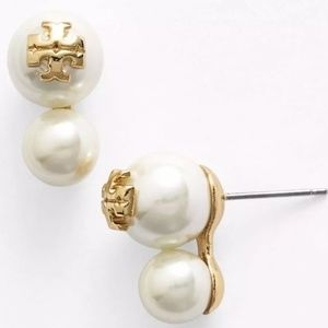 "Tory Burch ""Evie"" Gold Double Drop Pearl Earrings"